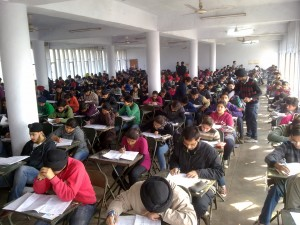 Mock AIEEE - AIPMT students taking the test at one of the examination halls on 25th December 2011.